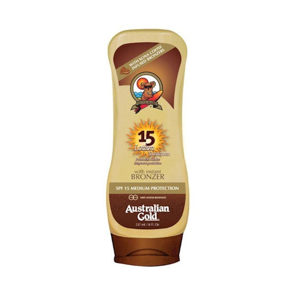 AUSTRALIAN GOLD LOTION SPF15 UPSIDE WITH ISTANT BRONZER